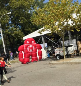 Maker Faire, our four year old was in awe of this deflating mascot...right next to the NASA tent.