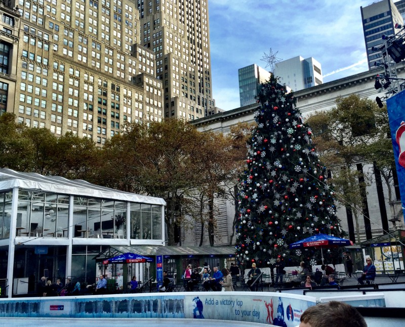 bryant park christmas tree and ice skating nyc