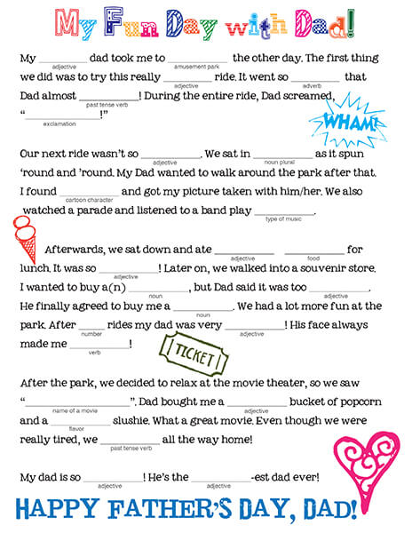 Father\u0027s Day Mad Libs! - Family Spice