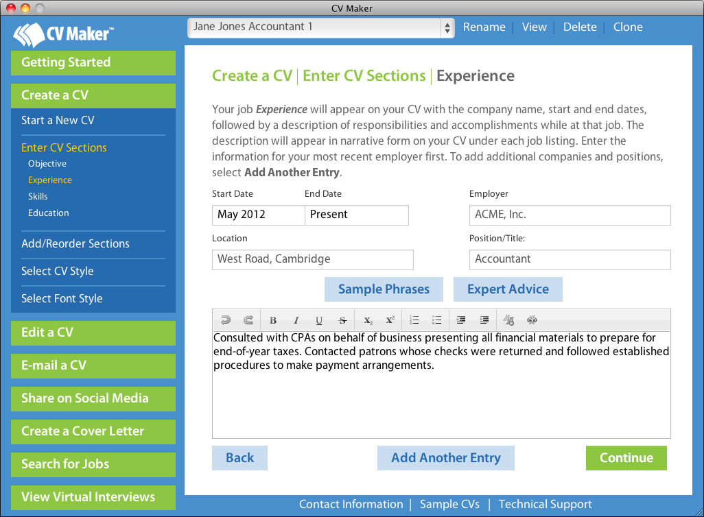 Home CV Maker for Mac