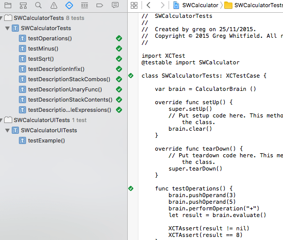XCode Unit Test Screenshot