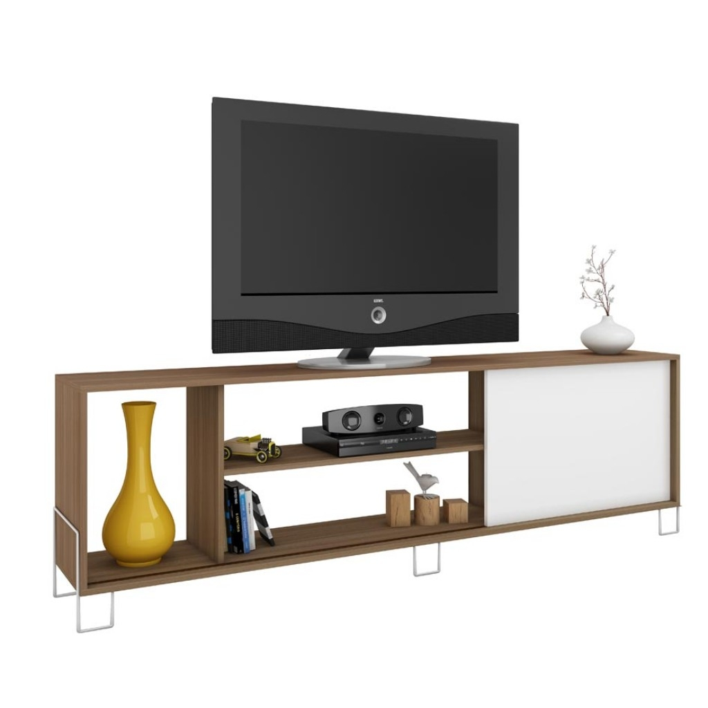 Muebles De Television Mueble Para Tv Brv Br 33 47 Color Blanco Con Roble Famsa