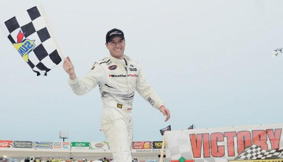 LP Dumoulin scored his first oval victory in the NASCAR Canadian Tire Series presented by Mobil 1, and third of his career overall, Wednesday in the Velocity Prairie Thunder 250 at Auto Clearing Motor Speedway  Photo - Matthew Murnaghan/Getty Images
