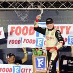 Ryan Blaney, driver of the #22 Discount Tire Ford, celebrates in Victory Lane after winning the NASCAR Nationwide Series Food City 300 at Bristol Motor Speedway on August 22, 2014 Photo - Patrick Smith/Getty Images