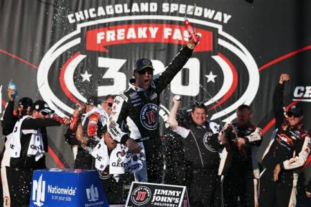 Kevin Harvick, driver of the #5 Jimmy John's Chevrolet, celebrates in victory lane after winning the NASCAR Nationwide Series Jimmy John's Freaky Fast 300 at Chicagoland Speedway on September 13, 2014 Photo - Nick Latham/Getty Images
