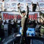 Kyle Busch, driver of the #54 Monster Energy Toyota, celebrates in Victory Lane after winning the NASCAR Nationwide Series Dover 200 at Dover International Speedway on September 27, 2014 Photo - Nick Latham/Getty Images
