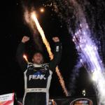 Christian PaHud celebrates his first K&N West win at All-American Speedway is on at 9 pm ET Photo - Noah Graham/Getty Images
