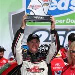 Timothy Peters, driver of the #17 Red Horse Racing Toyota, poses in victory lane after winning the NASCAR Camping World Truck Series Fred's 250 Powered by Coca-Cola at Talladega Superspeedway on October 18, 2014  Photo - Mike Ehrmann/Getty Images