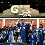 Dale Earnhardt Jr., driver of the #88 Nationwide Chevrolet, celebrates in victory lane after winning the NASCAR Sprint Cup Series Budweiser Duel 1 at Daytona International Speedway on February 19, 2015 Photo - Jeff Zelevansky/Getty Images
