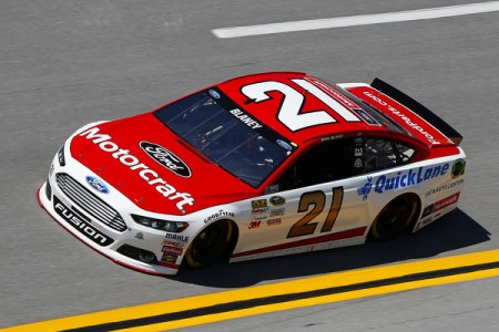 Ryan Blaney, driver of the #21 Motorcraft/Quick Lane Tire & Auto Center Ford, practices for the NASCAR Sprint Cup Series GEICO 500 at Talladega Superspeedway on May 1, 2015  Photo - Matt Sullivan/Getty Images
