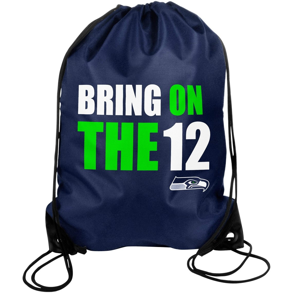 Seattle Seahawks Slogan Drawstring Backpack -College Navy