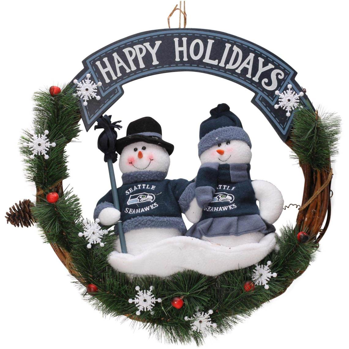 "Seattle Seahawks 20"" Snowman Wreath"