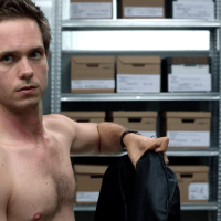 """Patrick J. Adams as Mike Ross shirtless in Suits 1x10 """"The Shelf Life"""""""