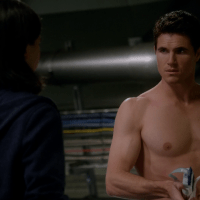 """Grant Gustin as Barry Allen/Flash and Robbie Amell as Ronnie Raymond shirtless in The Flash 1x13 """"The Nuclear Man"""""""