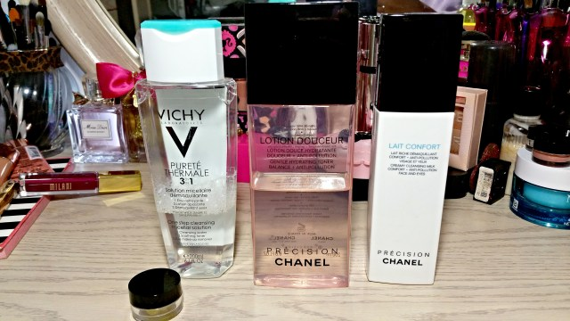 Vichy Purete Thermale 3-in-1 Calming Cleansing Solution, Chanel Lotion Douceur Gentle Hydrating Toner, Chanel Lait Confort Creamy Cleansing Milk, Bobbi Brown Extra Balm Rinse Cleanser