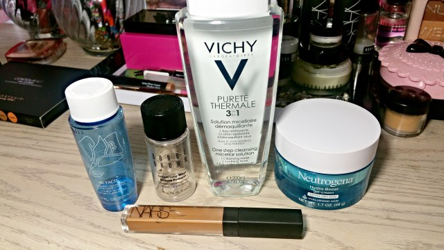 Lancome Bi-Facil Double Action Eye Makeup Remover, Bobbi Brown Instant Long-Wear Makeup Remover, Vichy Purete Thermale Cleansing Micellar Solution, Neutrogena Hydro Boost Gel Cream, NARS Amande Radiant Creamy Concealer