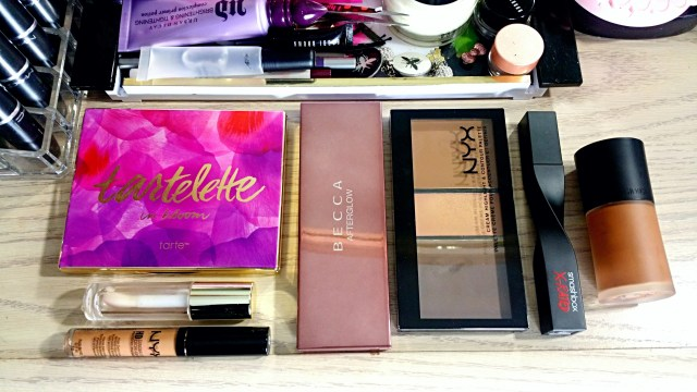 Fancie Faves: Tarte Tartelette in Bloom Eyeshadow Palette, NYX Cream Highlight & Contour Palette, Becca Afterglow Palette, NYX Nutmeg HD Concealer, Milani 01 Moisturizing Almond Coco Moisture Lock Oil Infused Lip Treatment, Smashbox X-Rated Mascara, Giorgio Armani Luminous Silk Foundation 11.5