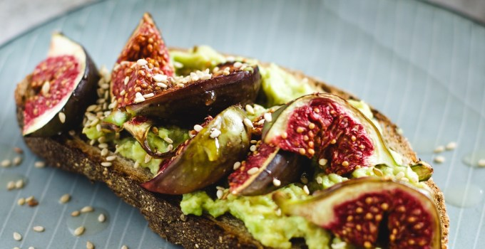Avocado and Tahini Tartine with Balsamic roasted Figs or fancy avo toast..