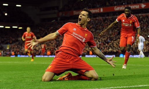 Lovren celebrates his winner over Swansea. Source: liverpoolfc.com