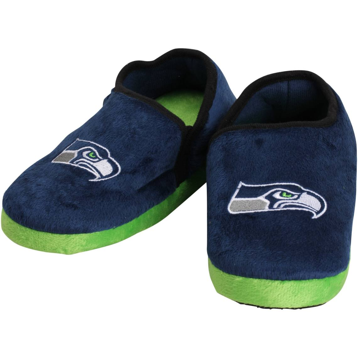 Seattle Seahawks Youth Plush Closed Back Slippers College Navy