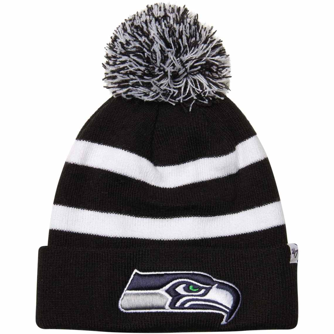 47 Brand Seattle Seahawks Breakaway Domestic Cuffed Knit Hat with Pom BlackWhite