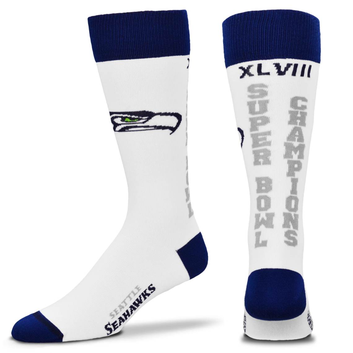 Seattle Seahawks Super Bowl XLVIII Champions Ladies Tall Socks White