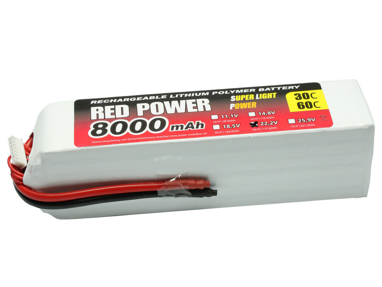 Akku 9v 6s Lipo Akku Red Power Slp 8000mah 22 2v