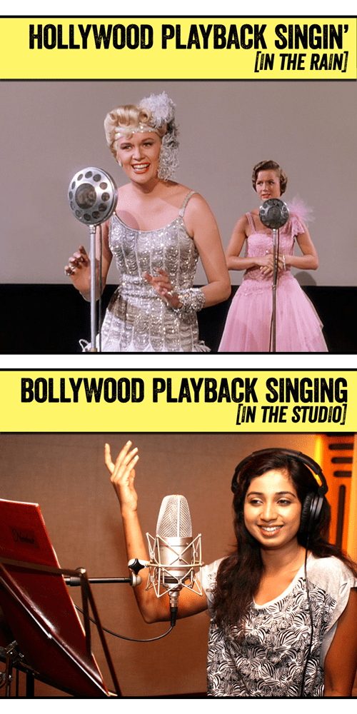 "like Kathy Seldon (Debbie Reynolds) in ""Singin' in the Rain,"" Shreya records songs so actresses can lip-sync through the songs in their movies"