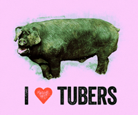 "pink t-shirt design: large black hog with ""I {heart} tubers"" text #fantasticdrivel"