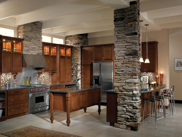 Designs Of Kitchens In Interior Designing Feel The Warmth Of Rustic Kitchen Designs With Stones And Wood
