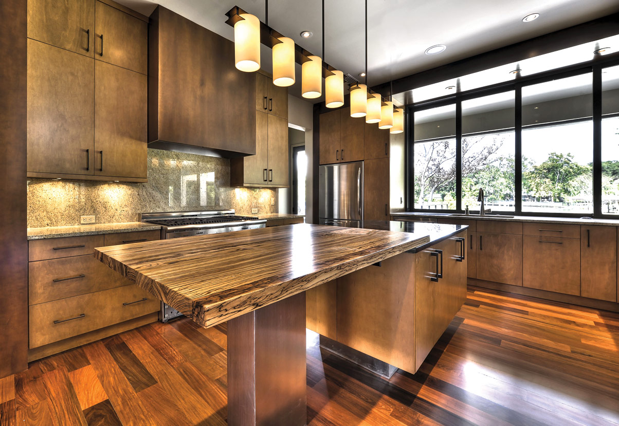 Bamboo Island Countertop Exotic Large Kitchen Design With Industrial Cabinetry Idea And