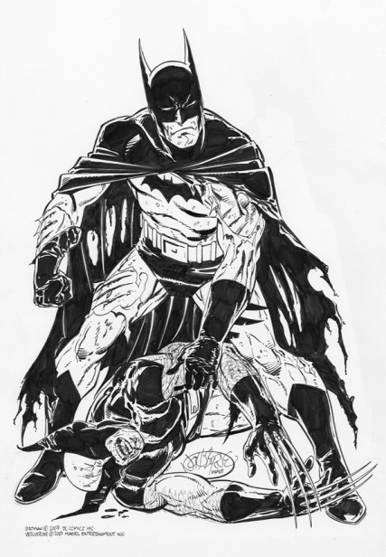 Batman beating Wolverine by John Byrne