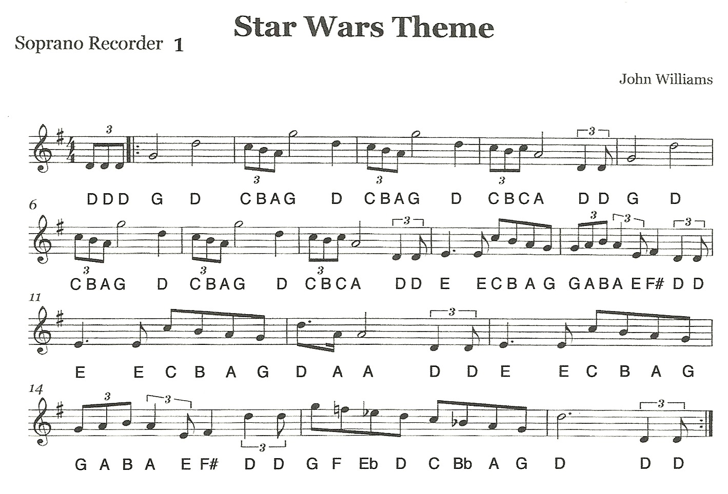 star wars theme song flute notes