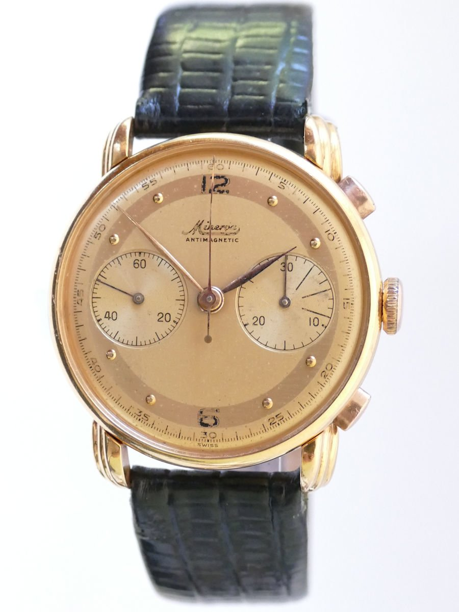 Gold Chronograph Minerva Solid 18k Gold Vintage Chronograph Watch - 1940's