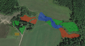 Green=1st Year Fruit Trees, RED=2nd Year Trees and bushes, BROWN=Garden, BLUE=Pond