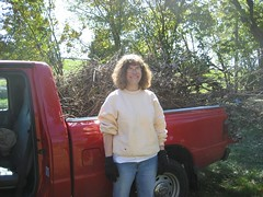 Stephanie, with a large load of tree branches