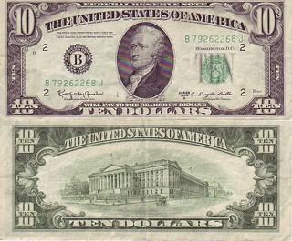Ten-dollar bill obverse/reverse