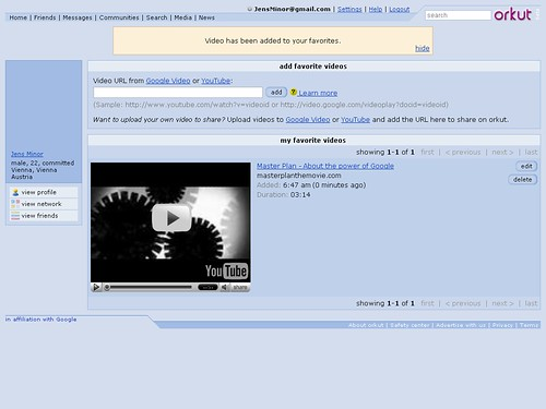 Videos bei Orkut