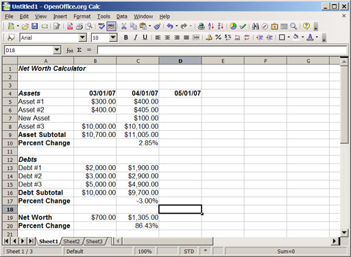 Building Your Own Monthly Net Worth Calculator Using A Spreadsheet