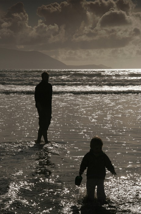 Father and son in the water