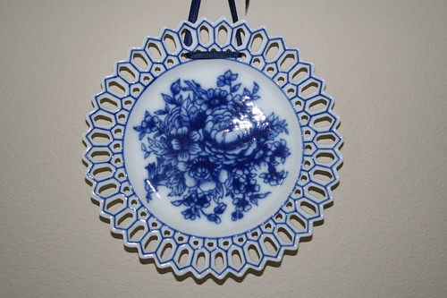 blue plate on a ribbon