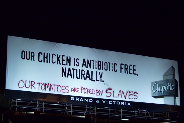 chipotle billboard defaced