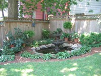 Backyard shade garden design, rock garden engraving ...