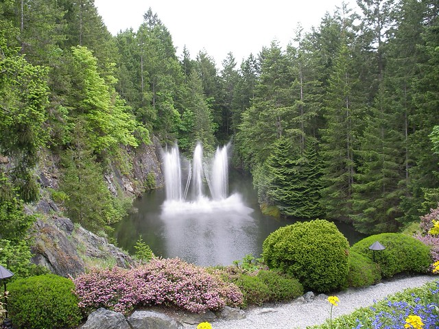 Card Games Dancing Waterfalls, Butchart Gardens, Victoria, B.c