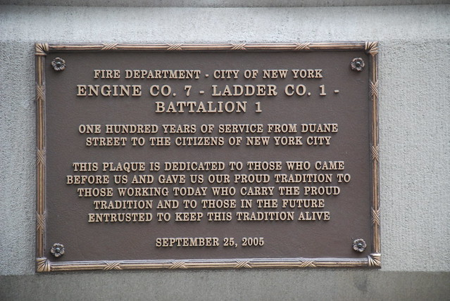 Engine 7 Ladder 1 Battalion 1 100th Anniversary Plaque