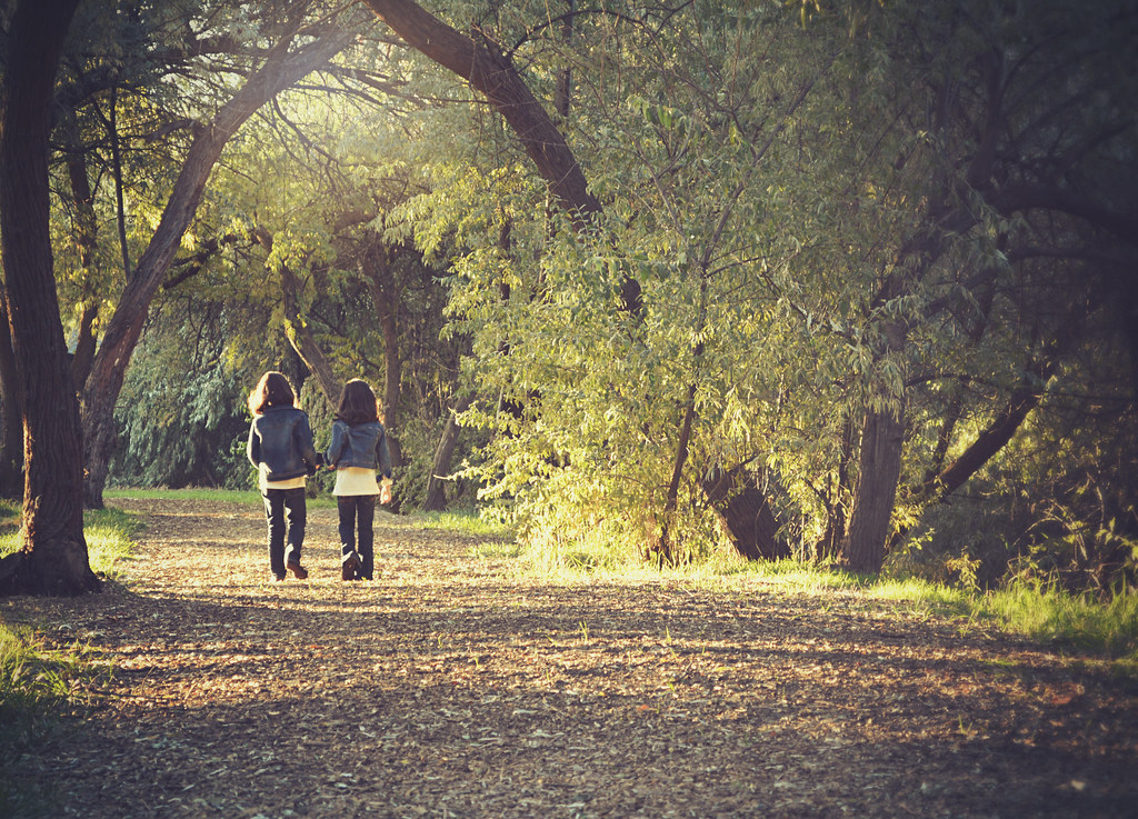 Imagen gratis de dos niñas caminando por un bosque