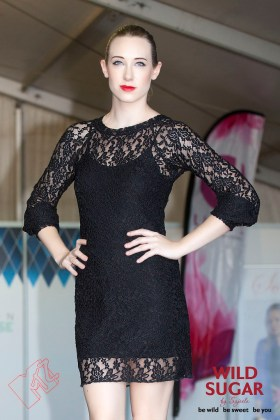 Ladybird Sheath Dress with Bishop Sleeves in Black Lace.