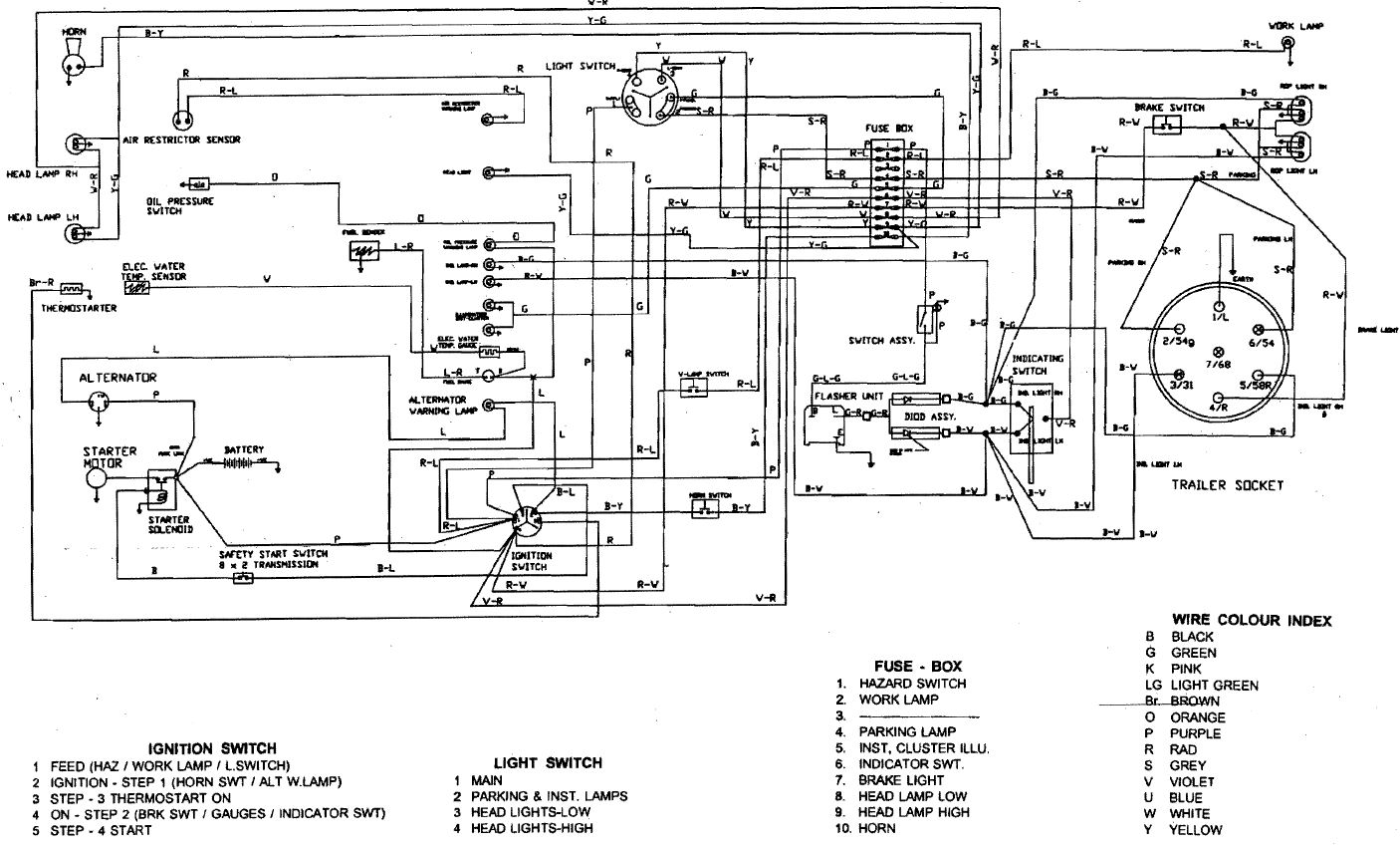 ford diesel tractor ignition switch ledningsdiagram