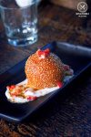 Sydney Food Blog Review of Junk Lounge at Cruise Bar, Circular Quay: Sesame Ball with split bean, coconut & caramel, $8