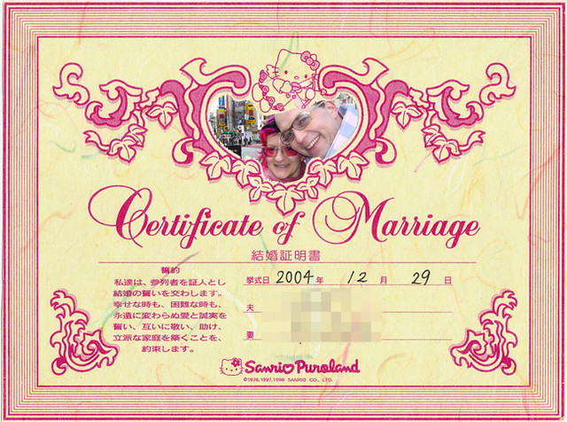 Hello Kitty Wedding Certificate